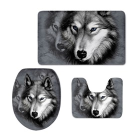 Wolf Pattern Flannel PVC Soft Water-Absorption and Anti-slid Toilet Seat Covers
