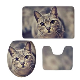 Cat Pattern Flannel PVC Soft Water-Absorption and Anti-slid Toilet Seat Covers