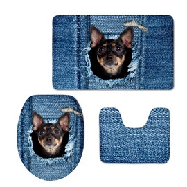 Blue Texture with Dog Printed Flannel PVC Soft Water-Absorption Anti-slid Toilet Seat Covers