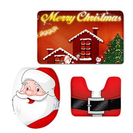 Christmas Father Printed Flannel PVC Soft Water-Absorption and Anti-slid Toilet Seat Covers