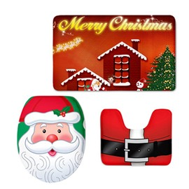 Christmas Festival Pattern Flannel PVC Soft and Anti-slid Toilet Seat Covers