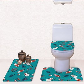 Christmas Father Snowman Tree Pattern Flannel PVC Soft and Anti-slid Toilet Seat Covers