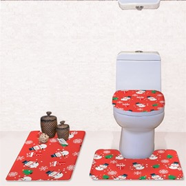 Christmas Snowmen Trees Pattern Flannel PVC Soft Anti-slid Red Toilet Seat Covers