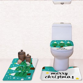 Christmas Trees Pattern Flannel PVC Soft and Anti-slid Toilet Seat Covers