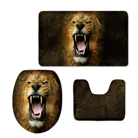 Roaring Lion Pattern Flannel PVC Soft and Anti-slid Toilet Seat Covers