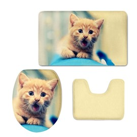 Kitten Pattern Flannel PVC Soft Water-Absorption and Anti-slid Toilet Seat Covers