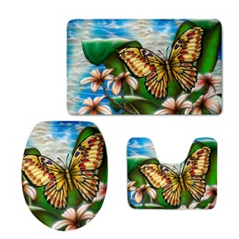 Butterflies and Plants Pattern Flannel PVC Soft Water-Absorption and Anti-slid Toilet Seat Covers
