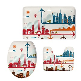 Buildings Pattern Flannel PVC Soft Water-Absorption and Anti-slid Toilet Seat Covers