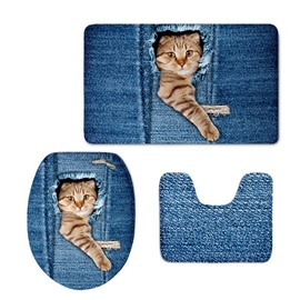 Cat Head and Leg Pattern Flannel PVC Soft Water-Absorption Anti-slid Toilet Seat Covers
