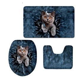 3D Grey Cat Pattern Flannel PVC Soft Water-Absorption and Anti-slid Toilet Seat Covers