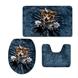 3D Kitten Pattern Flannel PVC Soft Water-Absorption and Anti-slid Toilet Seat Covers