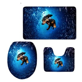 Dog Diving in Blue Sea Flannel PVC Soft Water-Absorption Anti-slid Toilet Seat Covers