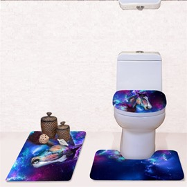 Horse Pattern 3-Piece Flannel PVC Soft Water-Absorption Anti-slid Toilet Seat Covers