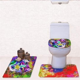 Colored Wolf Pattern 3-Piece Flannel PVC Soft Water-Absorption Anti-slid Toilet Seat Covers