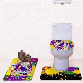 Splash-ink Dog Pattern 3-Piece Flannel PVC Soft Water-Absorption Anti-slid Toilet Seat Covers