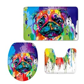 Dog Splash-ink Pattern 3-Piece Flannel PVC Soft Water-Absorption Anti-slid Toilet Seat Covers