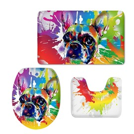 Colored Dog Pattern 3-Piece Flannel PVC Soft Water-Absorption Anti-slid Toilet Seat Covers