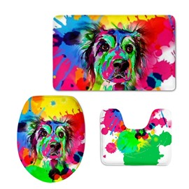 Dog in Color Pattern 3-Piece Flannel PVC Soft Water-Absorption Anti-slid Toilet Seat Covers