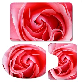 Red Rose Pattern 3-Piece Flannel PVC Soft Water-Absorption Anti-slid Toilet Seat Covers
