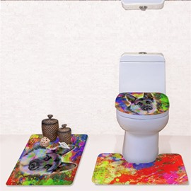 Dog Colored Splash-ink Pattern 3-Piece Flannel PVC Soft Water-Absorption Anti-slid Toilet Seat Covers