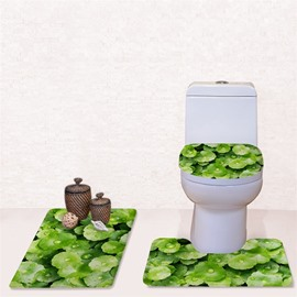 Green Leaves Pattern 3-Piece Flannel PVC Soft Water-Absorption Anti-slid Toilet Seat Covers