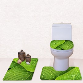 Green Pattern 3-Piece Flannel PVC Soft Water-Absorption Anti-slid Toilet Seat Covers
