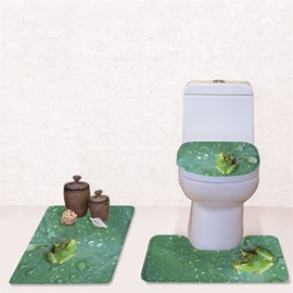 Frog Pattern 3-Piece Flannel PVC Soft Water-Absorption Anti-slid Toilet Seat Covers