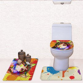 Colored Background Dog Pattern 3-Piece Flannel PVC Soft Water-Absorption Anti-slid Toilet Seat Covers