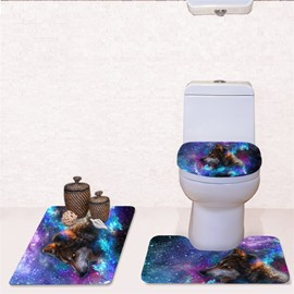 Galaxy Wolf Pattern 3-Piece Flannel PVC Soft Water-Absorption Anti-slid Toilet Seat Covers