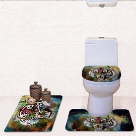 Tiger Pattern 3-Piece Flannel PVC Soft Water-Absorption Anti-slid Toilet Seat Covers