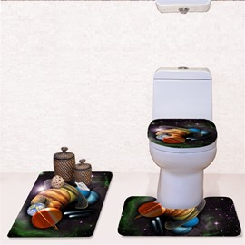 Planets Pattern 3-Piece Flannel PVC Soft Water-Absorption Anti-slid Toilet Seat Covers