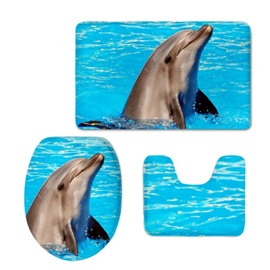 Dolphin Pattern 3-Piece Flannel PVC Soft Water-Absorption Anti-slid Toilet Seat Covers