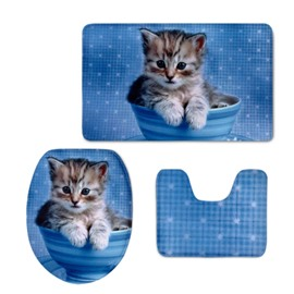 Blue Background Kitten Pattern 3-Piece Flannel PVC Soft Water-Absorption Anti-slid Toilet Seat Covers