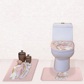 Unicorn Pattern 3-Piece Flannel PVC Soft Water-Absorption Anti-slid Toilet Seat Covers