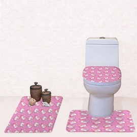 Pink Background Unicorns Pattern 3-Piece Flannel PVC Soft Water-Absorption Anti-slid Toilet Seat Covers