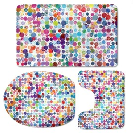 Colored Circles Pattern 3-Piece Flannel PVC Soft Water-Absorption Anti-slid Toilet Seat Covers