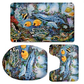 Fishes Pattern 3-Piece Flannel PVC Soft Water-Absorption Anti-slid Toilet Seat Covers