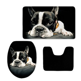 Dog Pattern 3-Piece Flannel PVC Soft Water-Absorption Anti-slid Black Toilet Seat Covers