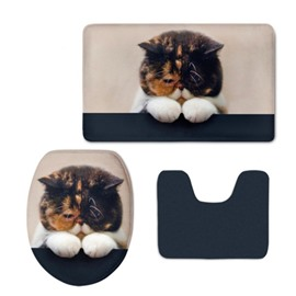 Cat Pattern 3-Piece Flannel PVC Soft Water-Absorption Anti-slid Toilet Seat Covers