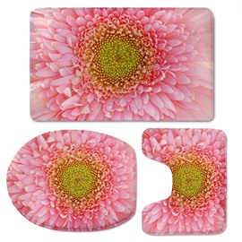 Pink Stamen Pattern 3-Piece Flannel PVC Soft Water-Absorption Anti-slid Toilet Seat Covers