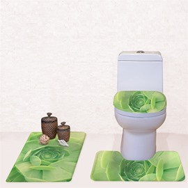 Green Cactus Pattern 3-Piece Flannel PVC Soft Water-Absorption Anti-slid Toilet Seat Covers