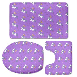 Purple Background Unicorns Pattern 3-Piece Flannel PVC Soft Water-Absorption Anti-slid Toilet Seat Covers