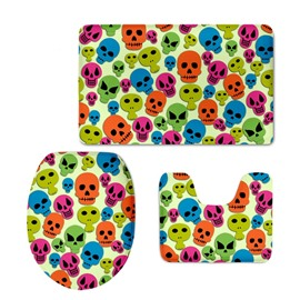Skulls Spirits Pattern 3-Piece Flannel PVC Soft Water-Absorption Anti-slid Toilet Seat Covers