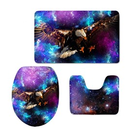 Eagle Flying in Galaxy 3-Piece Flannel PVC Soft Water-Absorption Anti-slid Toilet Seat Covers