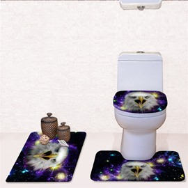 Eagle Pattern 3-Piece Flannel PVC Soft Water-Absorption Anti-slid Toilet Seat Covers