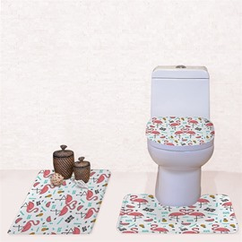 Flamingos Pattern 3-Piece Flannel PVC Soft Water-Absorption Anti-slid Toilet Seat Covers