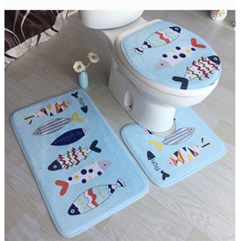 Blue Fish Pattern 3-Piece Flannel PVC Water-Absorption Anti-slid Toilet Seat Covers