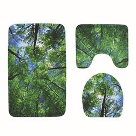 Print Pattern Anti-Slip Polyester Rectangular Toilet Seat Covers