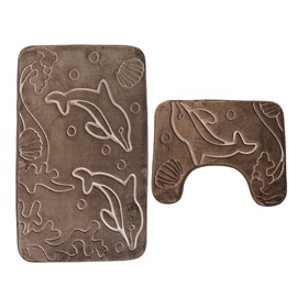3D Dolphin Embossed 2-Piece Toilet Mat