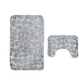 3D Cobblestone Embossed Toilet Mat 2-Piece Set
